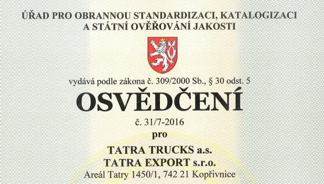 TATRA TRUCKS a.s. obhájila osvědčení AQAP 2110