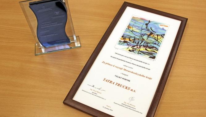 """Společnost TATRA TRUCKS získala ocenění """"Za přínos k rozvoji Moravskoslezského kraje"""""""